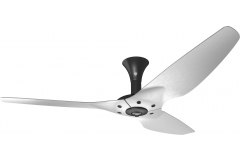 "Haiku Luxe Series Ceiling Fan: 60"", Brushed Aluminum, Low Profile Mount: Black"