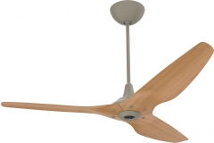 "Haiku Indoor Ceiling Fan with Uplight: 60"" Caramel Bamboo, Universal Mount: Satin Nickel"