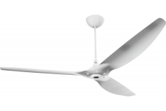"Haiku Indoor Ceiling Fan with Uplight: 84"" Brushed Aluminum, Universal Mount: White"