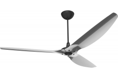 Haiku Indoor Ceiling Fan: 210 cm, Polished Aluminium, Universal Mount: Black