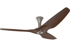 "Haiku Outdoor Ceiling Fan: 60"", Cocoa Woodgrain Aluminum, Low Profile Mount: Satin Nickel"