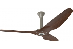 "Haiku Outdoor Ceiling Fan: 60"", Cocoa Woodgrain Aluminum, Standard Mount: Satin Nickel"