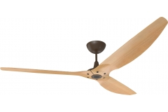 "Haiku Outdoor Ceiling Fan: 84"", Caramel Woodgrain Aluminum, Universal Mount: Oil-Rubbed Bronze"