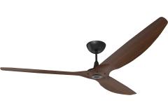 """Haiku Outdoor Ceiling Fan: 84"""", Cocoa Woodgrain Aluminum, Universal Mount: Black"""