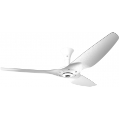 "Haiku Luxe Series Ceiling Fan: 60"", Brushed Aluminum, Low Profile Mount: White"