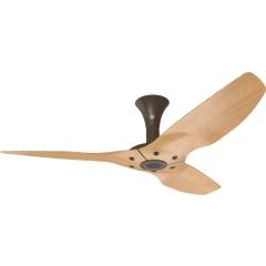 "Haiku Outdoor Ceiling Fan: 52"", Caramel Woodgrain Aluminum, Low Profile Mount: Oil-Rubbed Bronze"