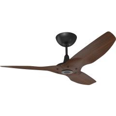 """Haiku Outdoor Ceiling Fan: 52"""", Cocoa Woodgrain Aluminum, Universal Mount: Black"""