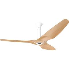 """Haiku Outdoor Ceiling Fan: 60"""", Caramel Woodgrain Aluminum, Standard Mount: White"""