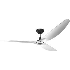 "Haiku Outdoor Ceiling Fan: 84"", Brushed Aluminum, Universal Mount: Black"