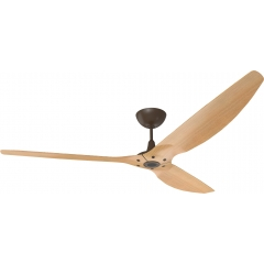 "Haiku Outdoor Ceiling Fan: 84"", Caramel Woodgrain Aluminum, Universal Mount: Oil-Rubbed Bronze"