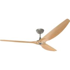 "Haiku Outdoor Ceiling Fan: 84"", Caramel Woodgrain Aluminum, Universal Mount: Satin Nickel"